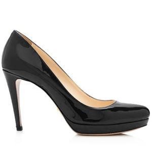 Size 9.5 / 39.5 PRADA Black Patent Leather Heel